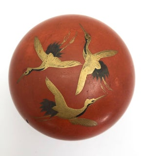 Japanese Orange Lacquer Nesting Box With Gold Cranes Preview