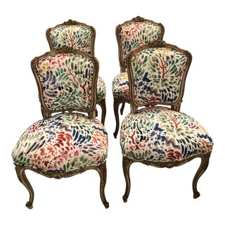 Louis XVI French Painted Wood Dining Chairs -A Set of 4 For Sale
