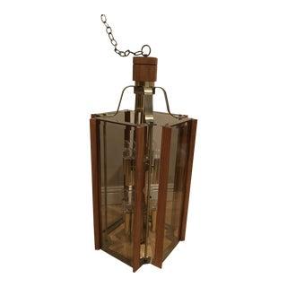 1970's Fredrick Ramond Teak & Brass Lantern Chandelier For Sale
