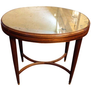 Art Deco Oval Table With Mirrored Top For Sale