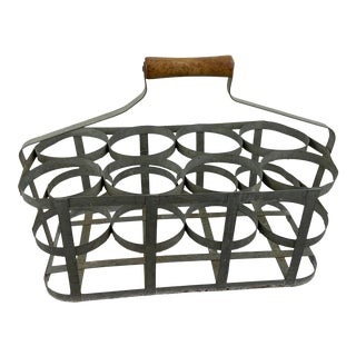 French Zinc Eight Bottle Carrier For Sale
