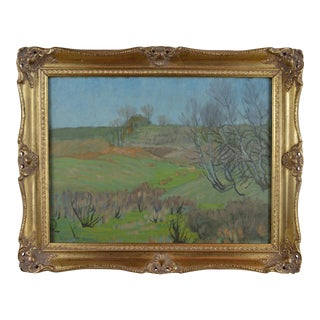 Vintage 1930s Early Spring Landscape Oil Painting by Albert Francis