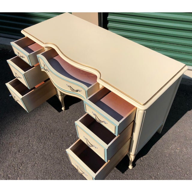 Wood Drexel French Provincial Desk Vanity For Sale - Image 7 of 10