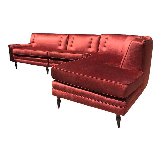 Mid-Century Probber Style Velvet Sectional Sofa For Sale