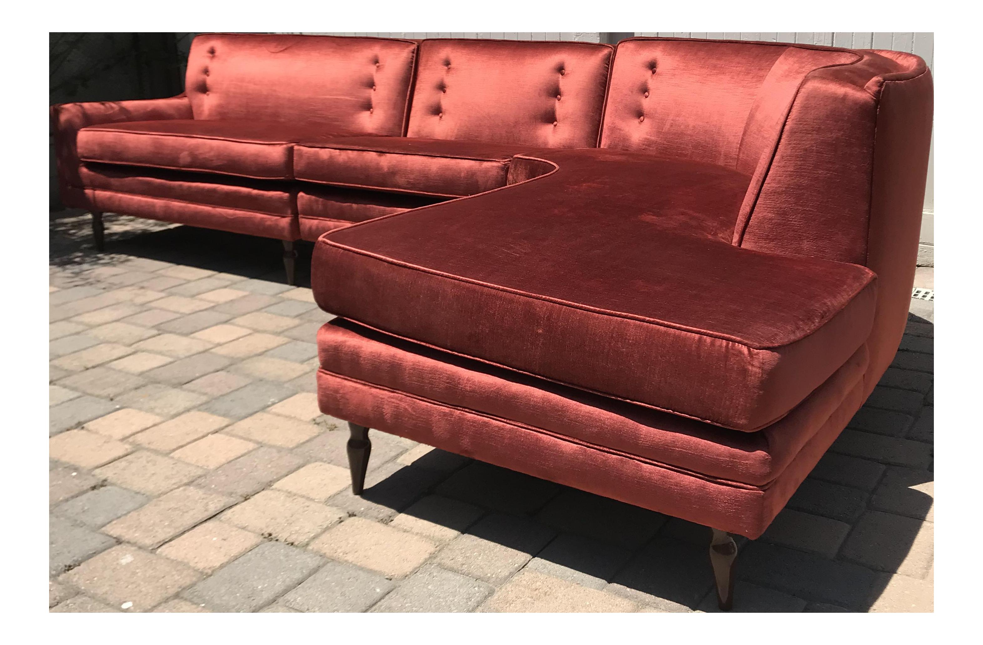 Mid Century Probber Style Velvet Sectional Sofa   Image 1 Of 12