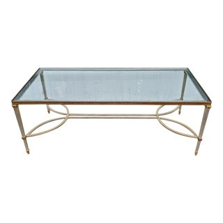 Mid 20th Century Steel & Bronze Beaded Maison Jansen Coffee Table For Sale