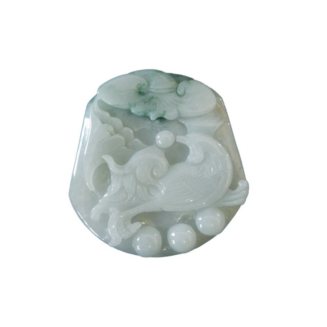 Jadeite Jade Carved Pendant W / Bird - Image 3 of 9