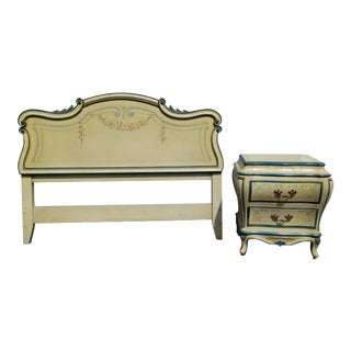 Vintage French Country Provincial Karges Creme Queen Headboard & Nightstand For Sale