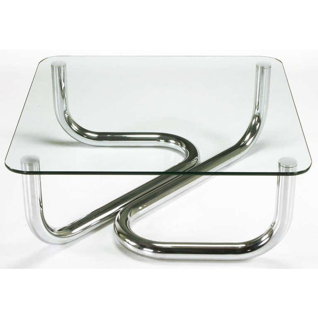 Sinuous Chrome and Glass Coffee Table - Image 7 of 7