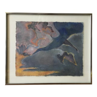 "Vintage Abstract Painting ""Abstract Cyclamen"" by Sue McCall For Sale"