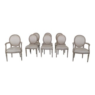 1980's Vintage Baker French Louis XVI Style Upholstered Dining Room Chairs- Set of 8 For Sale