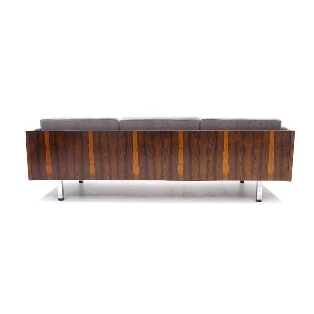 Jydsk Mobelvaerk Danish Modern Rosewood Case Sofa by Jydsk Møbelværk, Gray Velvet Upholstery For Sale - Image 4 of 8
