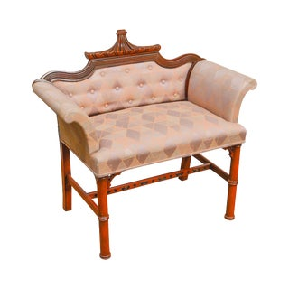 Chinese Chippendale Style Pagoda Top Vintage 1940s Mahogany Vanity Bench For Sale