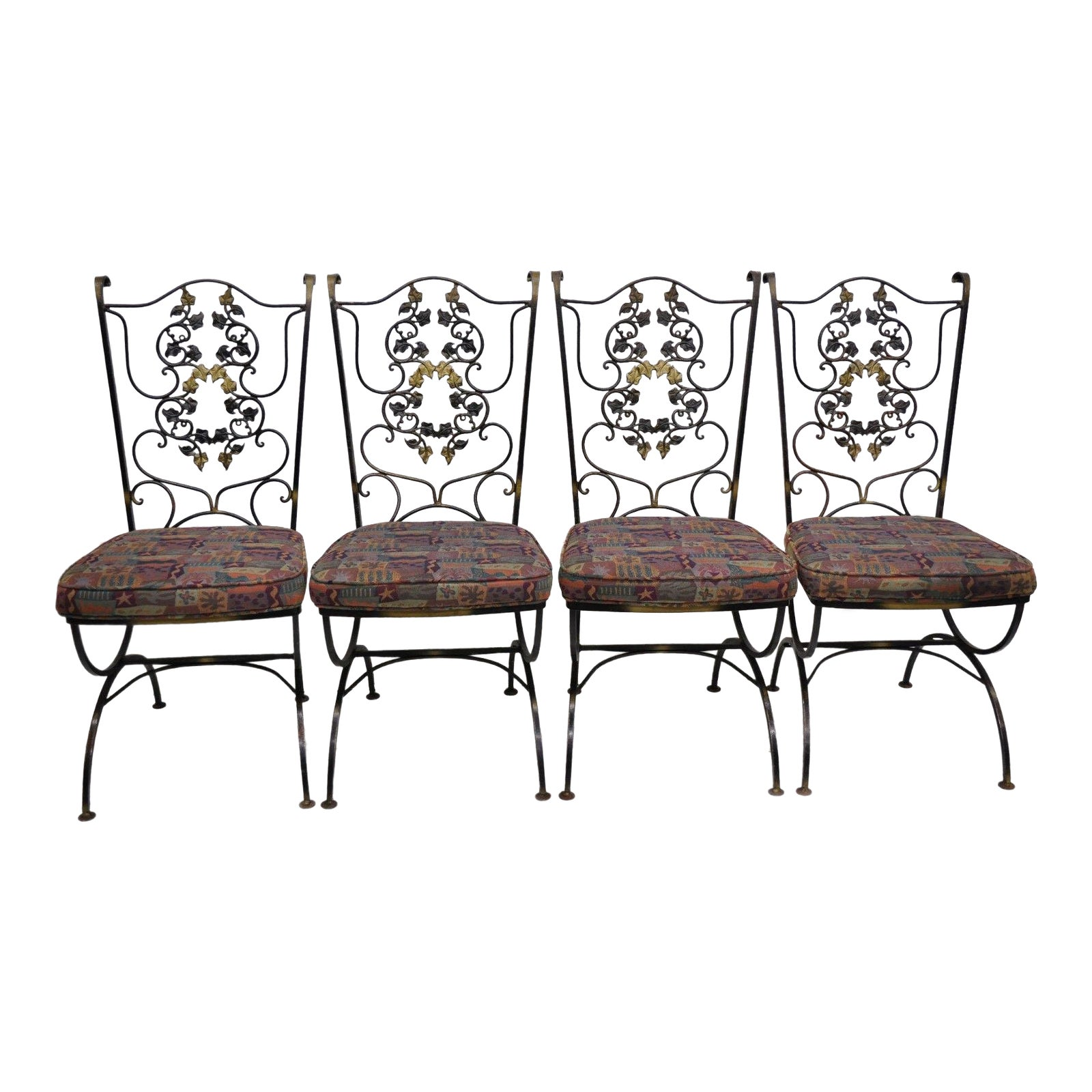 Vintage Woodard Wrought Iron Black Gold Scrolling Leaf Patio