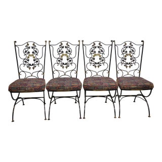 Vintage Woodard Wrought Iron Black & Gold Scrolling Leaf Patio Chairs - Set of 4 For Sale