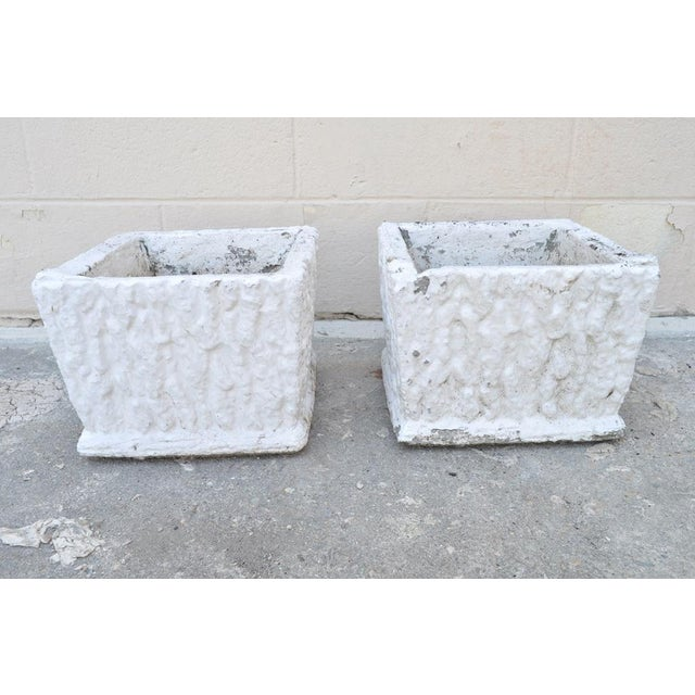 Cottage 9 X 11 Pair of Vintage White Concrete Cement Square Garden Planter Flower Pots For Sale - Image 3 of 7