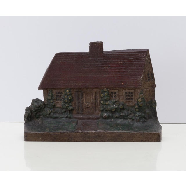 Early 20th Century 1920s Cast Iron Cottage Doorstop Shabby Chic For Sale - Image 5 of 5