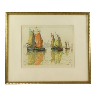 1930s Vintage Hans Figura Sailboats in Venice Lagoon Aquatint Etching For Sale