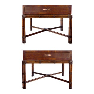 Vintage Henredon Side Tables on Warpped Rattan Bases - a Pair For Sale