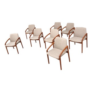 Vintage Kai Kristiansen Paper Knife Teak Dining Chairs- Set of 8 For Sale