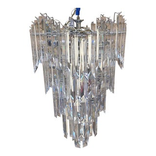 Mid-Century Lucite Cascading Wedding Cake Chandelier For Sale