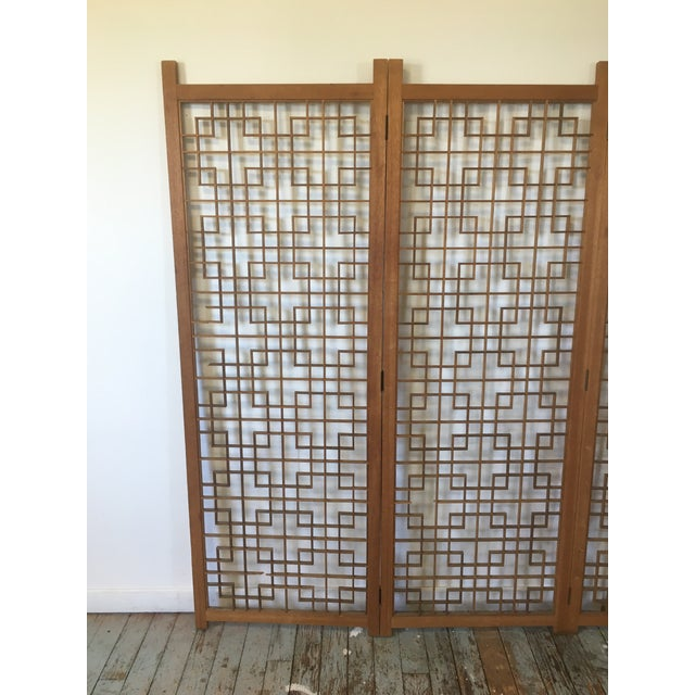 Mid-Century Teak 4 Panel Screen For Sale - Image 4 of 10