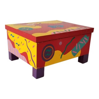 Postmodern Artistic Hand Painted Decorative Box . For Sale
