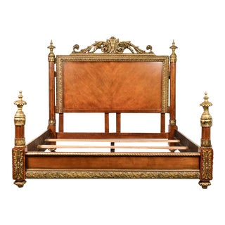 French Neoclassical Style Wooden King Bed