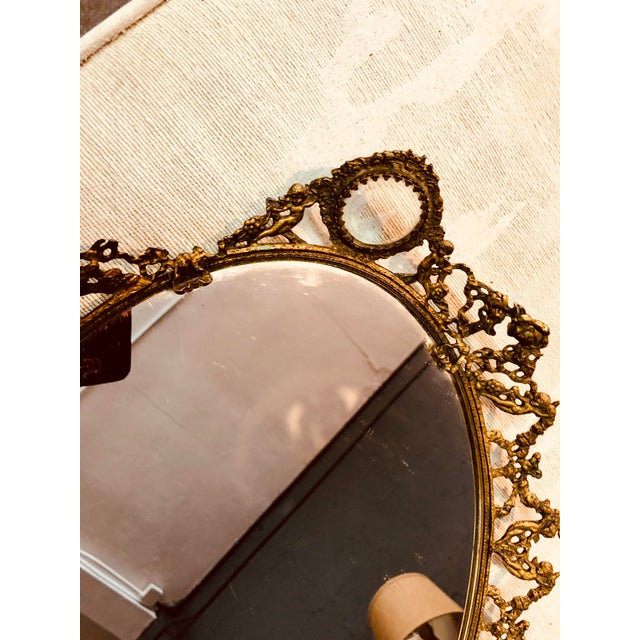 Rococo Brass Ormolu Mirrored Tray For Sale - Image 3 of 5