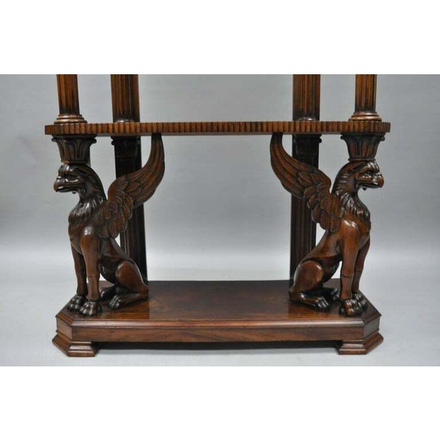 Mahogany Regency Style Carved Griffin Bookcase Horner Style-a Pair For Sale - Image 4 of 11