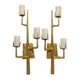 Image of Pair French Agostini Style Solid Bronze & 24kt Gold Dore Organic Tree Branch Wall Sconce For Sale