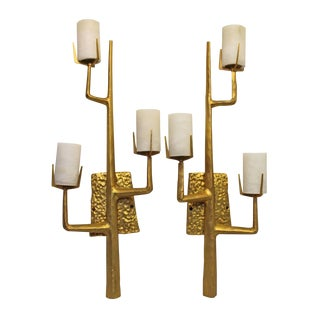 Pair French Agostini Style Solid Bronze & 24kt Gold Dore Organic Tree Branch Wall Sconce For Sale
