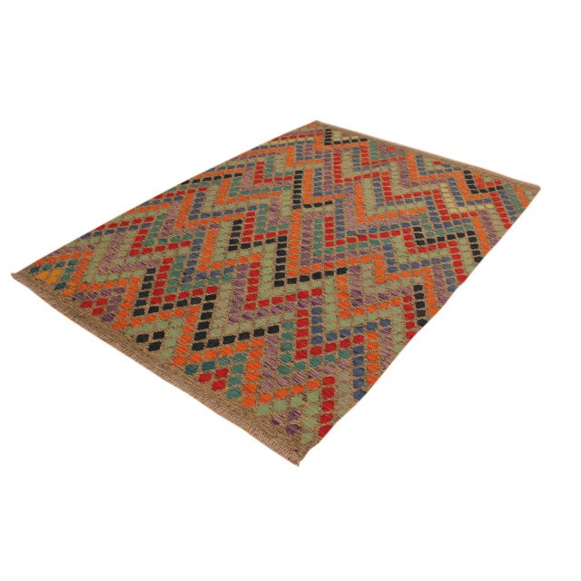 Shabby Chic Shabby Chic Lani Gray/Blue Hand-Woven Kilim Wool Rug -5'9 X 7'11 For Sale - Image 3 of 8