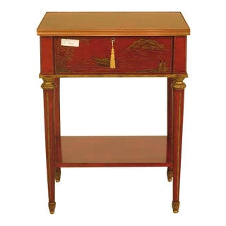 Maitland-Smith Red Chinoiserie 1-Drawer Nightstand