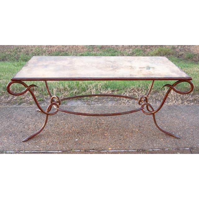 Circa 1940 René Drouet Patinated Silvered Glass and Forged Steel Coffee Table. France - Image 2 of 6