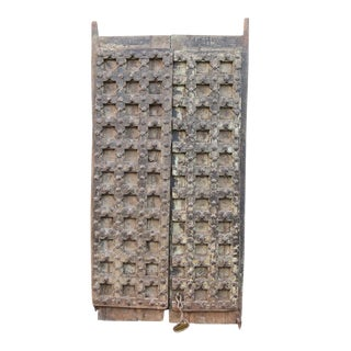 Antique Moorish Teak Nailhead Gateway Door For Sale