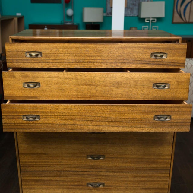 Drexel Mid-Century Drexel Composite Walnut High Chest For Sale - Image 4 of 11