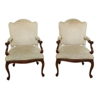 Pair William Switze French Style Open Arm Library Living Room Chairs For Sale