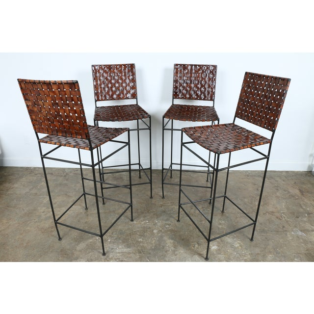 1990s Vintage Leather Bar Stools - Set of 4 - Image 5 of 11