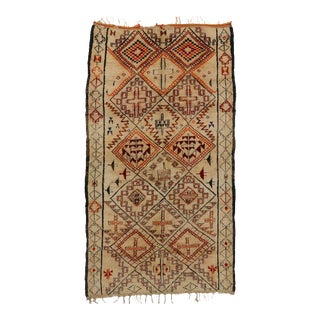 Mid-Century Modern Vintage Berber Moroccan Rug with Tribal Design