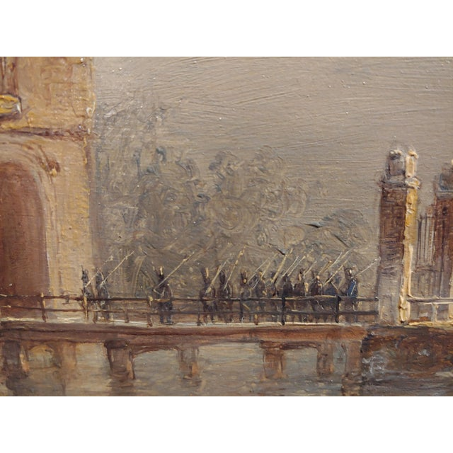 """19th Century Dutch """"Soldiers Entering a Castle"""" Oil Painting by Petrus Gerardus Vertin For Sale In Los Angeles - Image 6 of 9"""