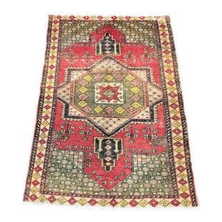 Vintage Turkish Aztec Handmade Decorative Wool Rug For Sale