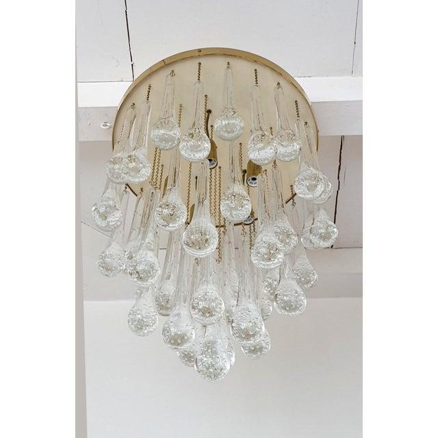 D'Lightus Mid Century Modern Brass & Murano Glass Drops Flush Mount Ceiling Light, Customizable For Sale - Image 4 of 13