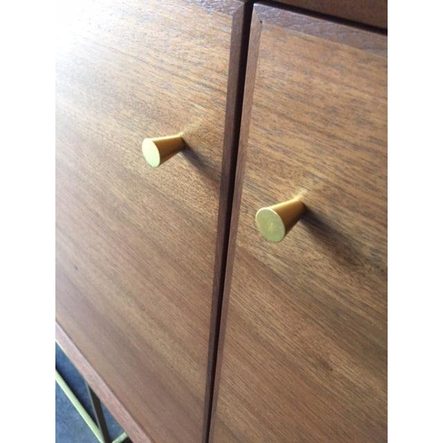 Custom Handmade Walnut Brass Base Credenza For Sale - Image 4 of 9