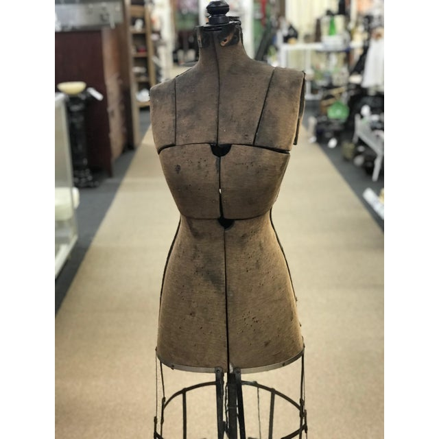 Grand rapids antique wire cage dress form Plum brown color. In worn condition.