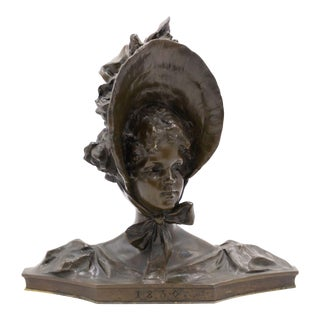 French Victorian Bronze Lady Bust For Sale