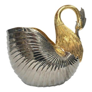 Monumental Italian Ceramic Swan Nautilus Shell Floor Planter Painted in Gold and Silver For Sale