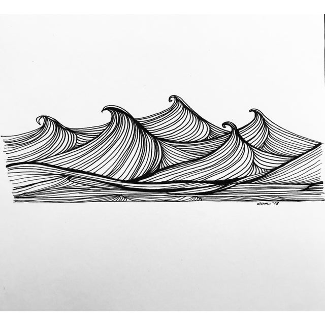"Black Christy Almond ""The Waves of the Sea"" Contemporary Pen & Ink Drawing For Sale - Image 8 of 8"