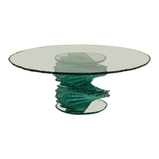 Late 20th Century Pedestal Base Glass Coffee Table For Sale