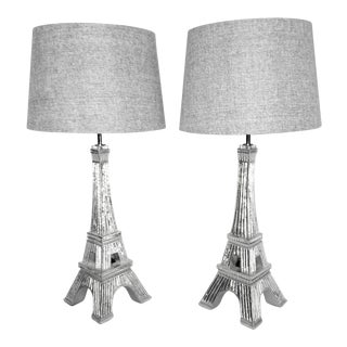 Silvery Mirror Eiffel Tower Table Lamps - A Pair For Sale